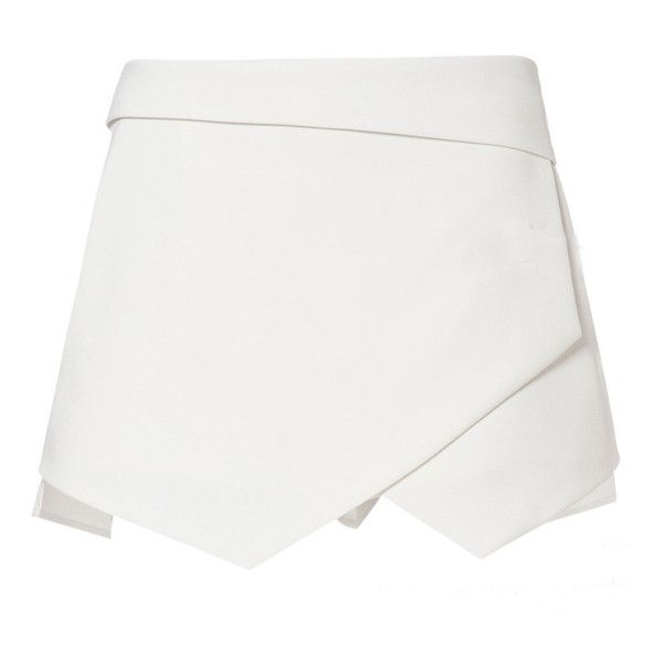 SheIn(sheinside) White Asymmetrical Geometric Pockets Shorts (€17) ❤ liked on Polyvore featuring shorts, skirts, sheinside, bottoms, white, white shorts, loose shorts, asymmetrical shorts, zipper pocket shorts and zipper shorts