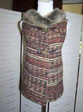 Zara Basic Amazing Tweed Faux Fur Hoody Buckle Wool Blend Vest Size Large
