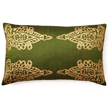 Check out this item at One Kings Lane! Pasha Khari 14x24 Pillow, Green