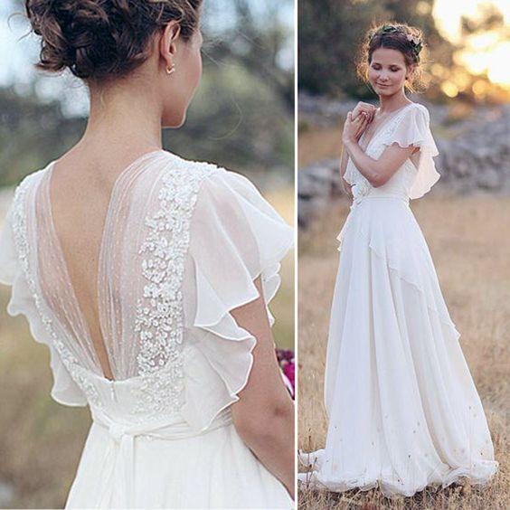 Bohemian Hippie Style Wedding Dresses 14