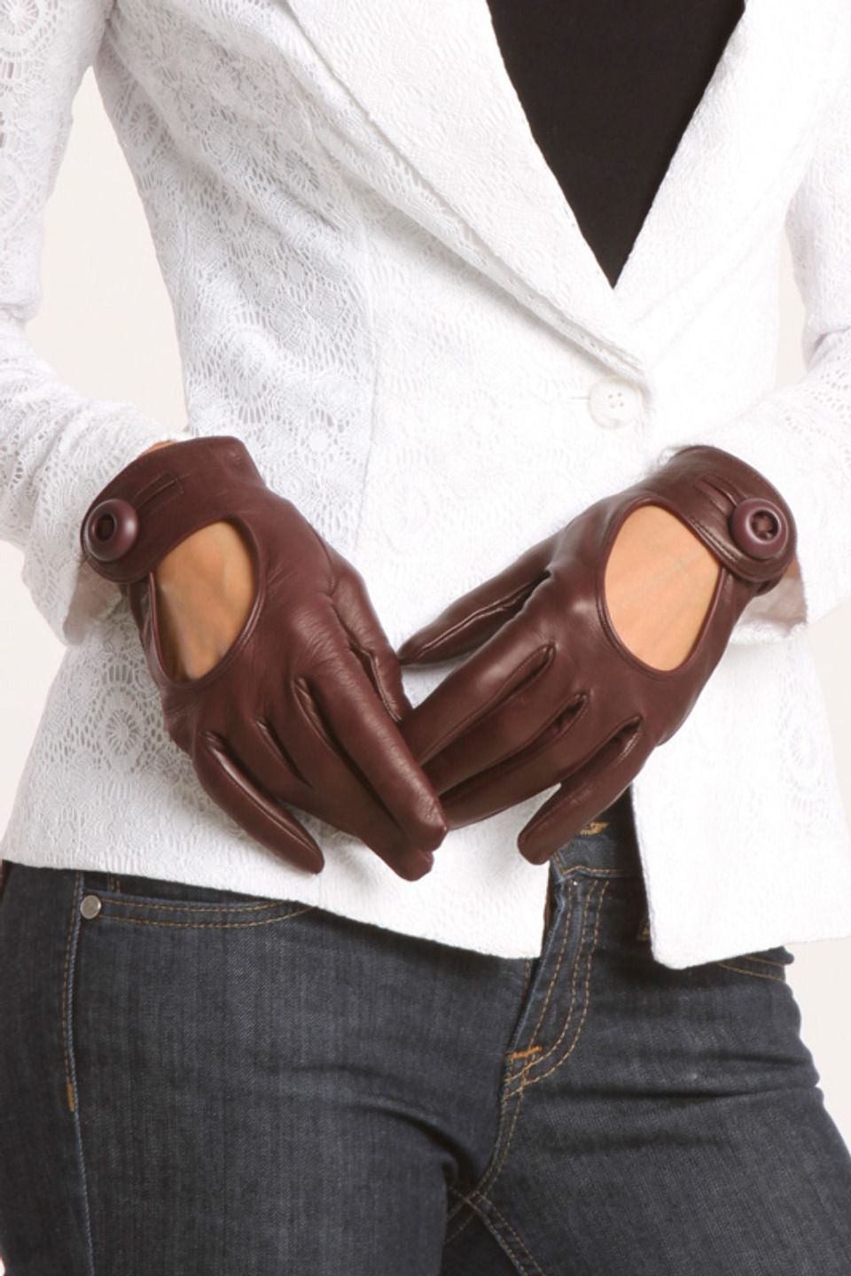 Ladies leather gloves designer - For When I Finally Own A Cycle Muhahahha Prada Ladies Cutout Gloves In Brown
