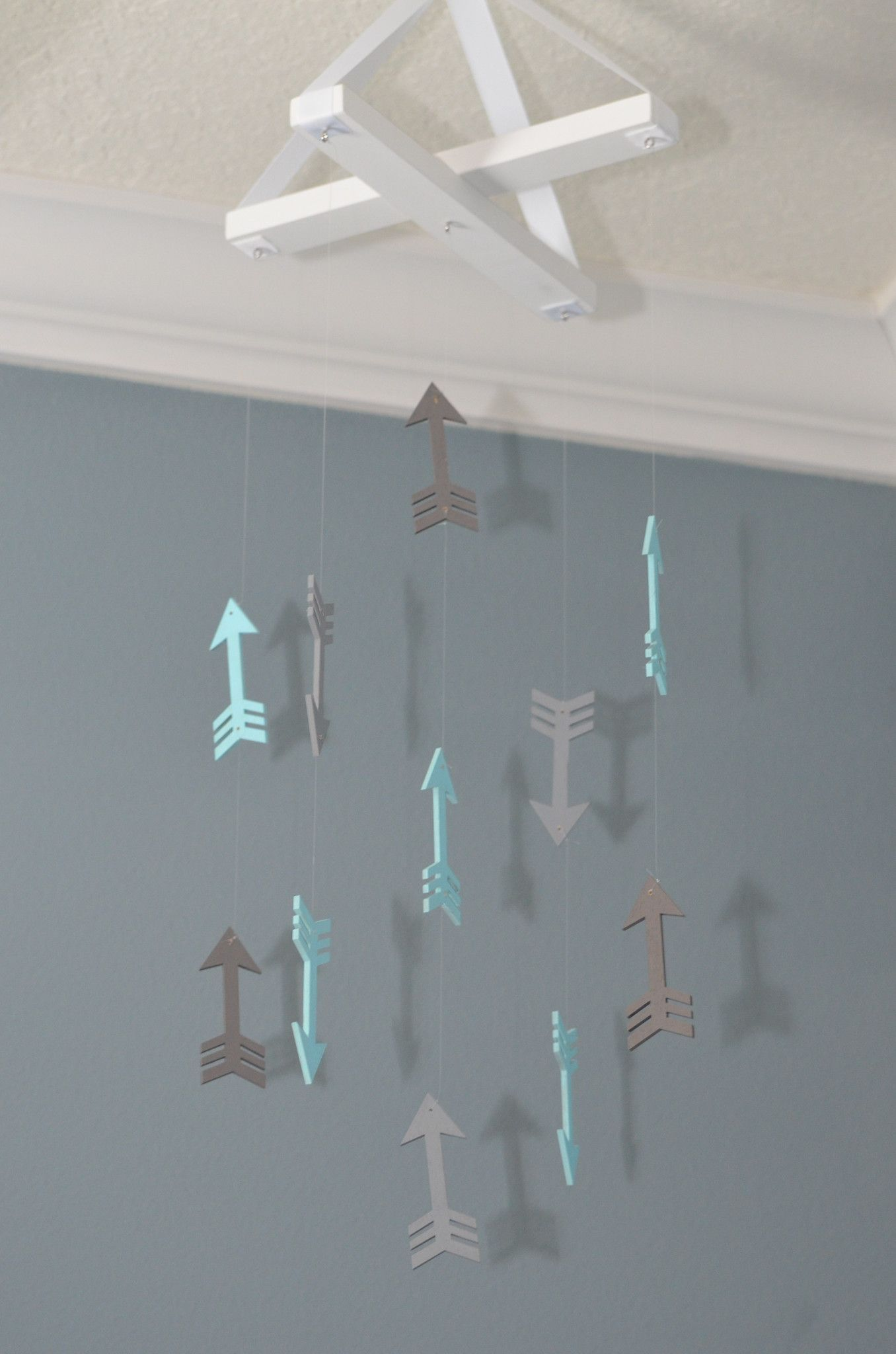 Arrow Nursery Mobile Arrows Tribal Aztec Mint Green And Gray Decor Baby Shower Gift Neutral Boy Boho Flutter Bunny