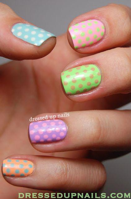 Pastel Polka Dots Nail Art! Fun. #nailart #naildesign #polkadots