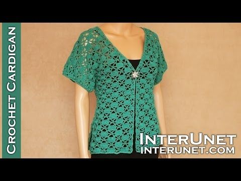 Crochet Short Sleeve Lace Summer Top Green Zinnia Cardigan Sweater