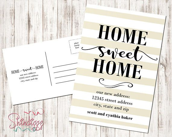New Home Announcement Postcard Moving Announcement Card New
