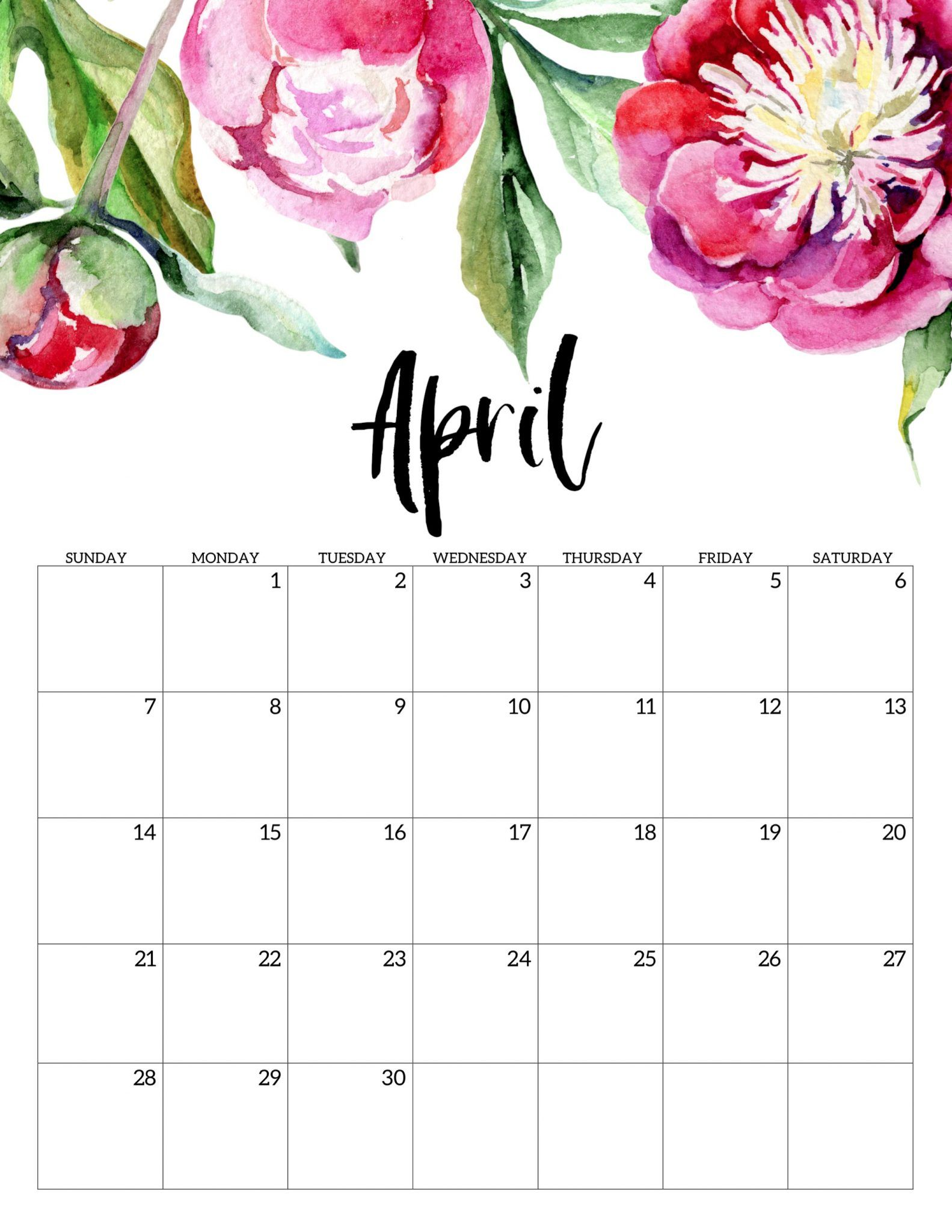 April 2019 Floral Calendar In 2020 Free Printable Calendar
