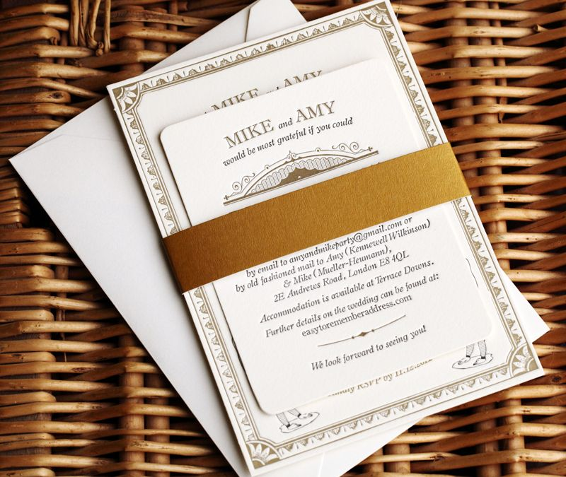 Vintage inspired wedding invitations 2
