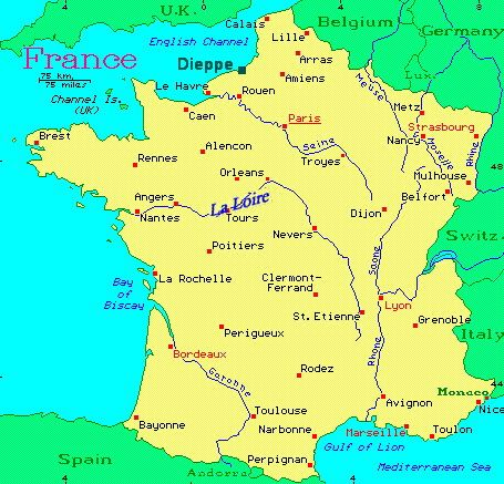 Map Of France Showing Dieppe France Castle Rental French