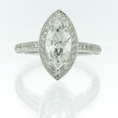 240ct Marquise Cut Diamond Engagement Anniversary Ring Halo Setting Pave Band