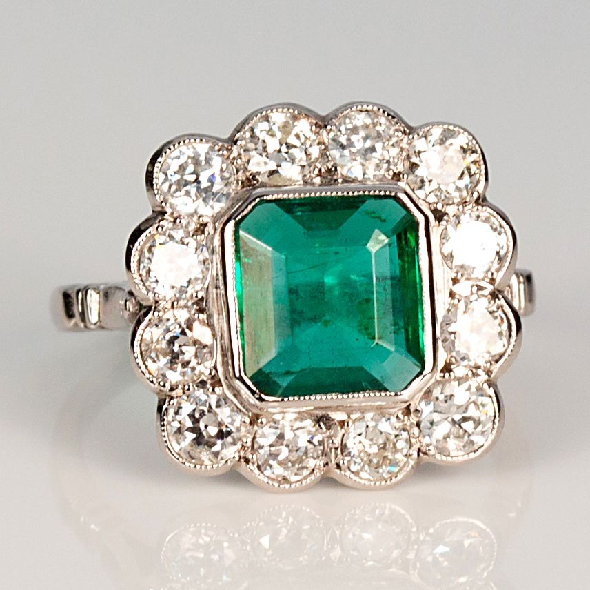 Estate 18k White Gold Emerald And Diamond Ring Keils Antiques