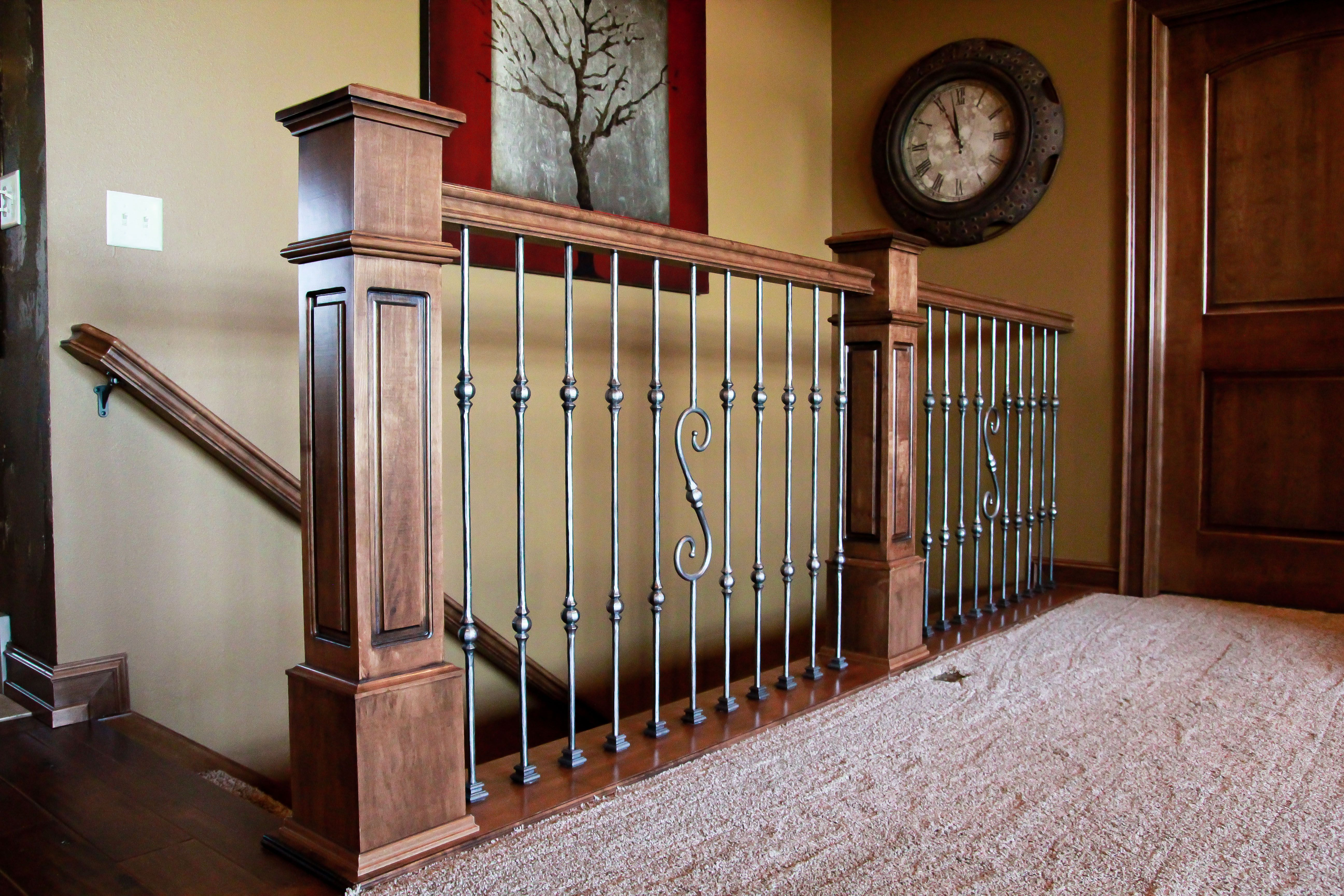 Best Mission Style Stained Newel And Top Rail Metal 640 x 480