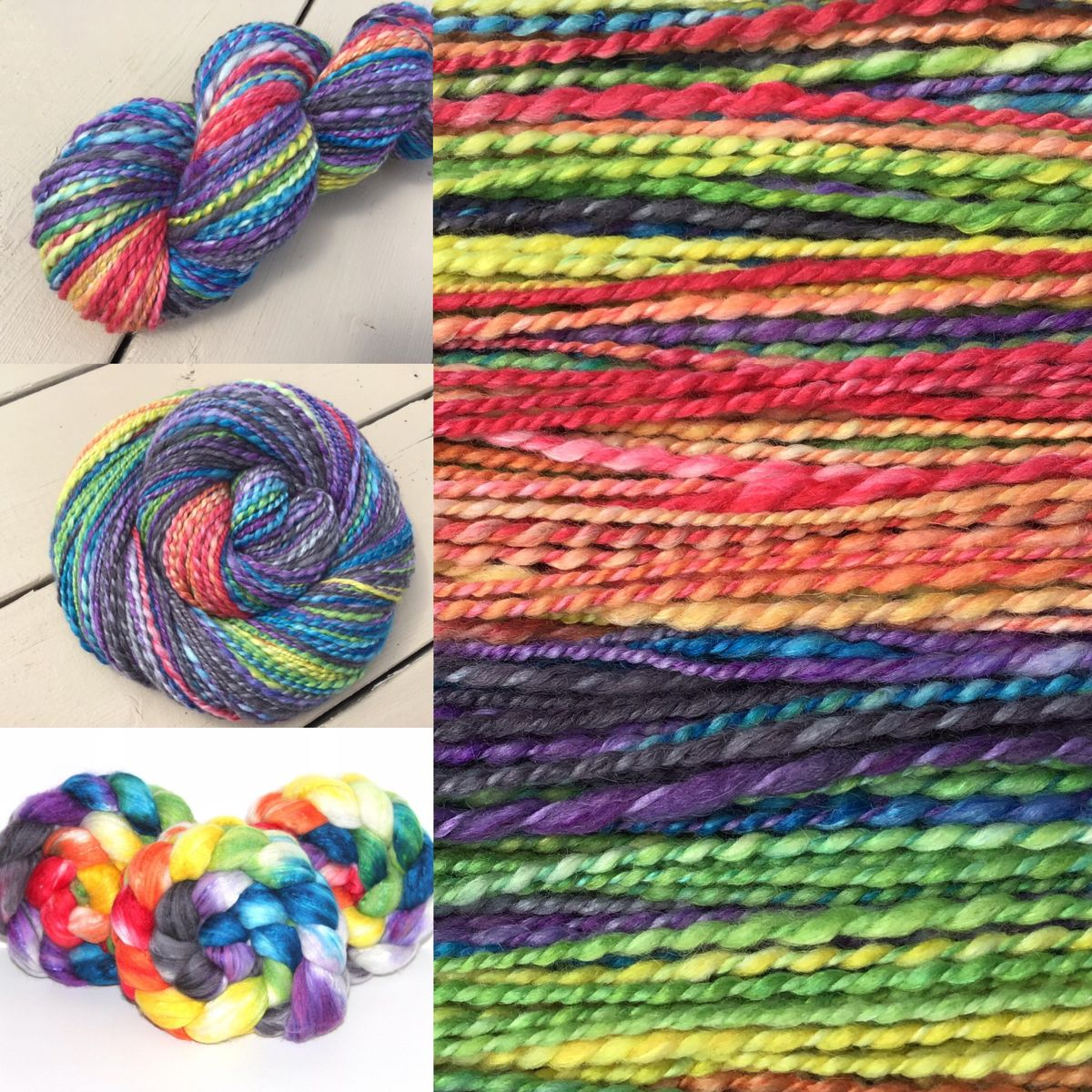 The gorgeous yarn was spun from our Rainbow Brite colourway on our Merino / Cashmere / Silk roving.  It makes a super soft yarn that you can work up into something beautiful or just snuggle for a while!    #thefiberimp #handspunyarn #cashmereyarn #rainbow #rainbow yarn