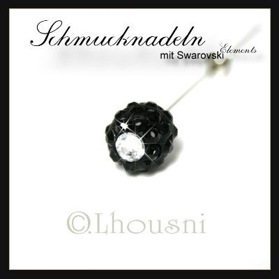 """SCHWARZ - Schmucknadeln - Hijabpins - Hijabnadeln mit Swarovski Elements in Kugelform simple, die Nadel ist ca. 7,5 cm lang, diese Accessoires werden in liebevoller Handarbeit in unserer """"FUNKELZONE.de"""" hergestellt...."""