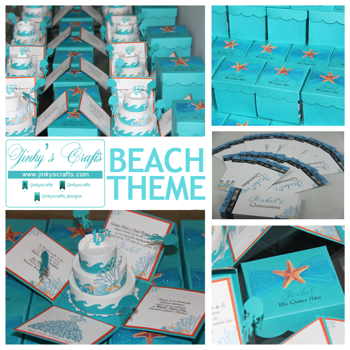 Unique Beach Theme Quinceanera Invitations by JINKYSCRAFTS.  Available both Fully Assembled or DIY KIT.