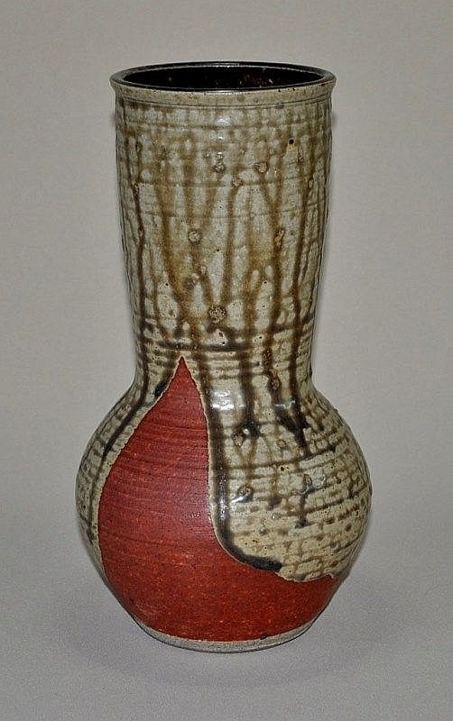 SHIGA, Shigeo (1928-2011) Stoneware Wide Neck Vase. Oribe with running ash glaze, potter's personal seals to foot.