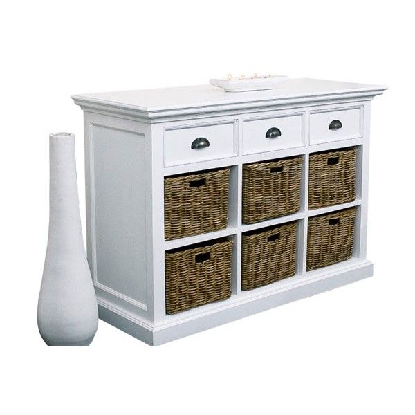 buffet blanc en acajou 3 tiroirs 6 paniers rotin gamme halifax meubles blancs atlantique. Black Bedroom Furniture Sets. Home Design Ideas