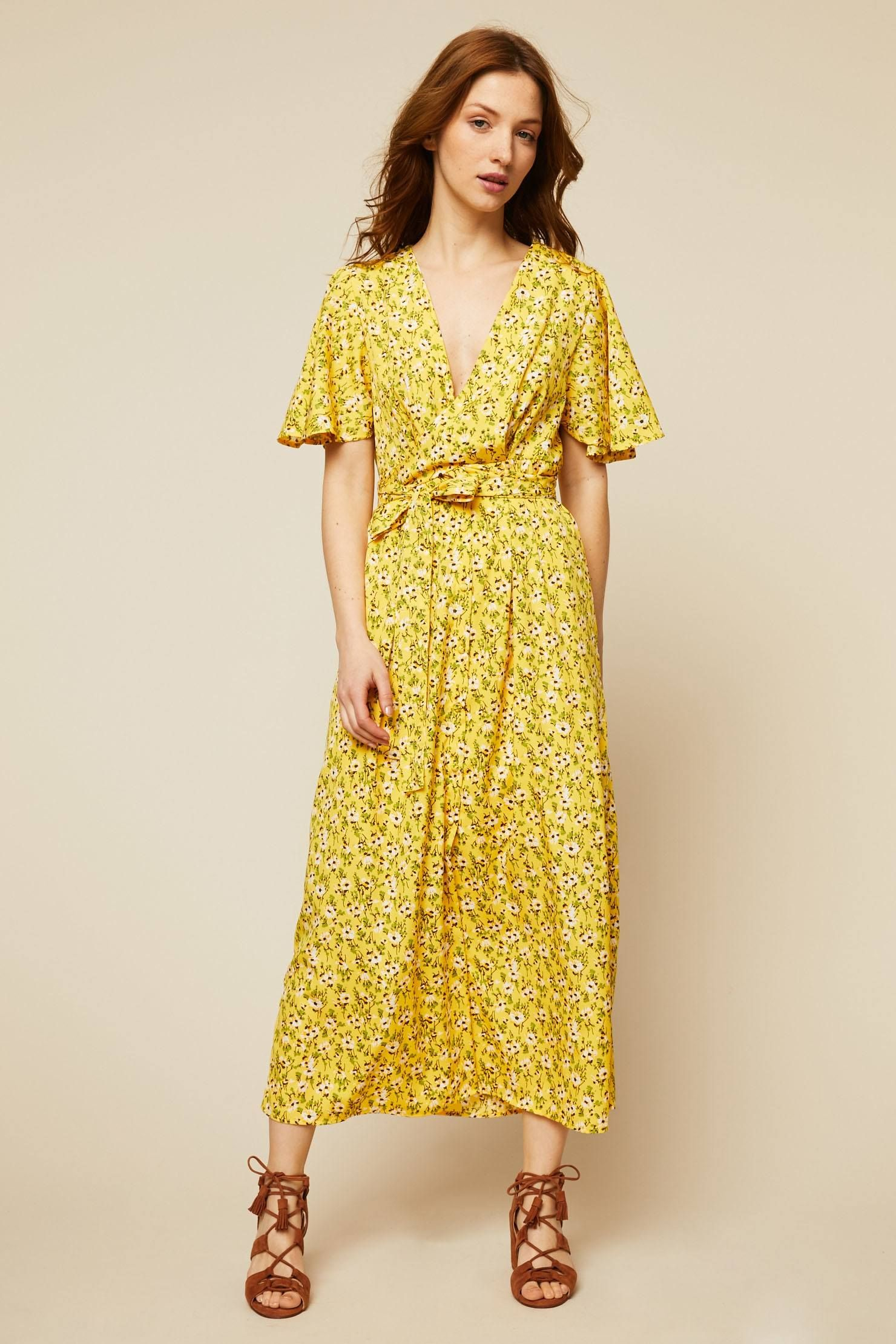 Robe Cache Coeur Jaune Imprime Floral Zoom Vero Moda Robe Robe Longue