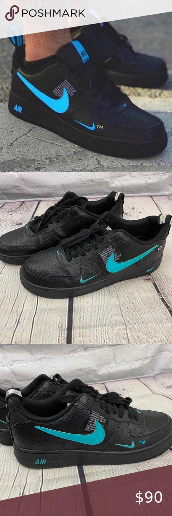 air force 1 low utility black and blue