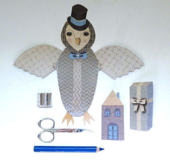 DIY Owl Dapper Gentleman Fold Out Wing Card by ArtistInLALALand, $4.00
