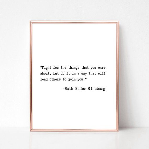 Ruth Bader Ginsburg Typewriter Quote Printable Wall Art, Digital Download, Feminist Home Decor