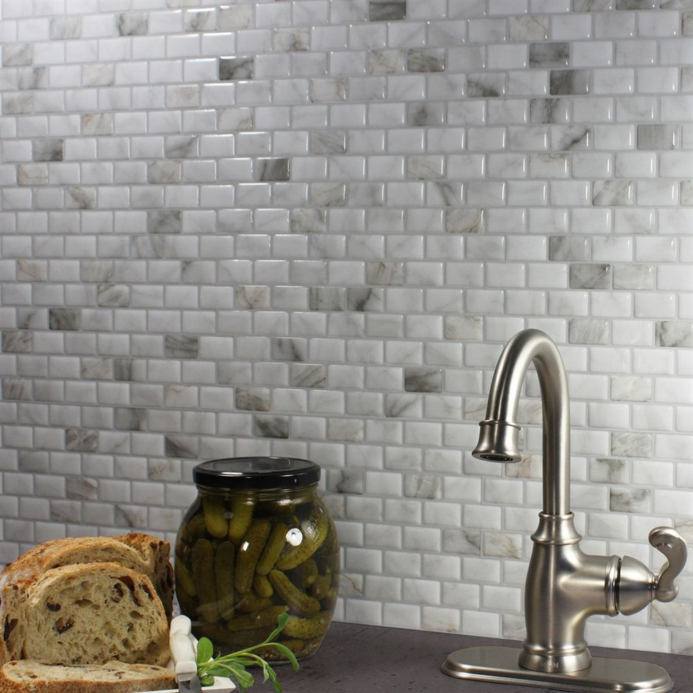 Shop smart tiles sm1098 6 ravenna bianco self stick wall tiles shop smart tiles ravenna bianco self stick wall tiles set of at lowes canada find our selection of backsplashes wall tile at the lowest price doublecrazyfo Images