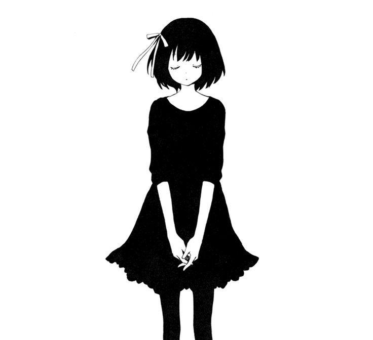 Depressed anime girl black and white dress