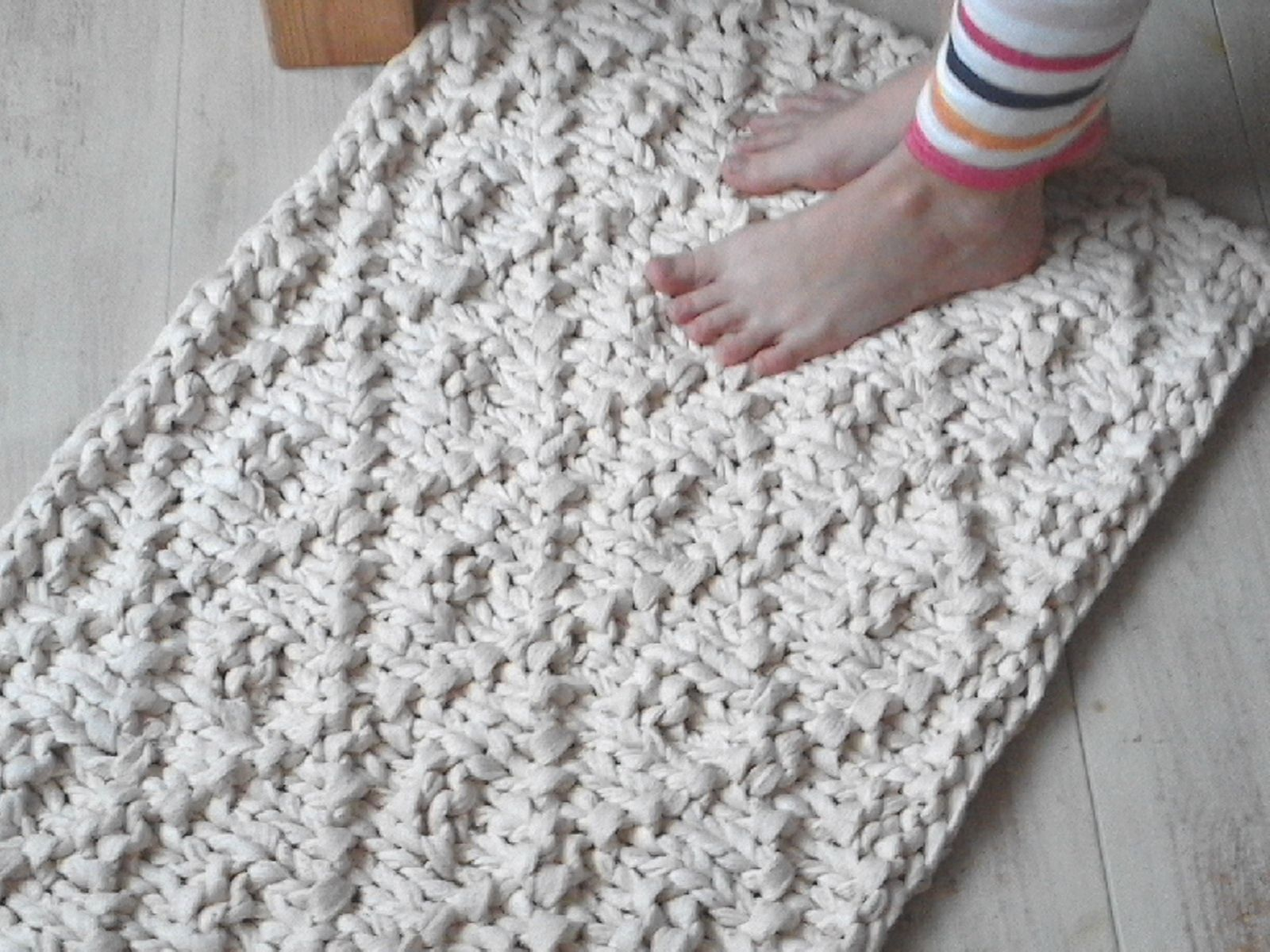 Wave Chunky Soft Natural Cotton Hand Knit Rope Rug Rectangular Big ...