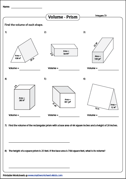 Volume Of A Prism Worksheets Mixed Review Finding Volume Worksheets Triangular Prism