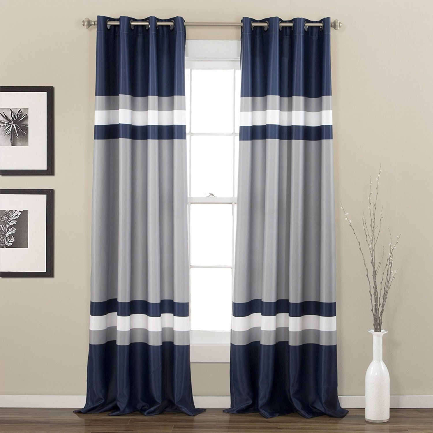 84 Inch Navy Silver Grey Rugby Stripes Curtains Pair Panel Set Blue Color Drapes Cabana Striped Pattern Window Treatments Naut Striped Room Lush Decor Curtains