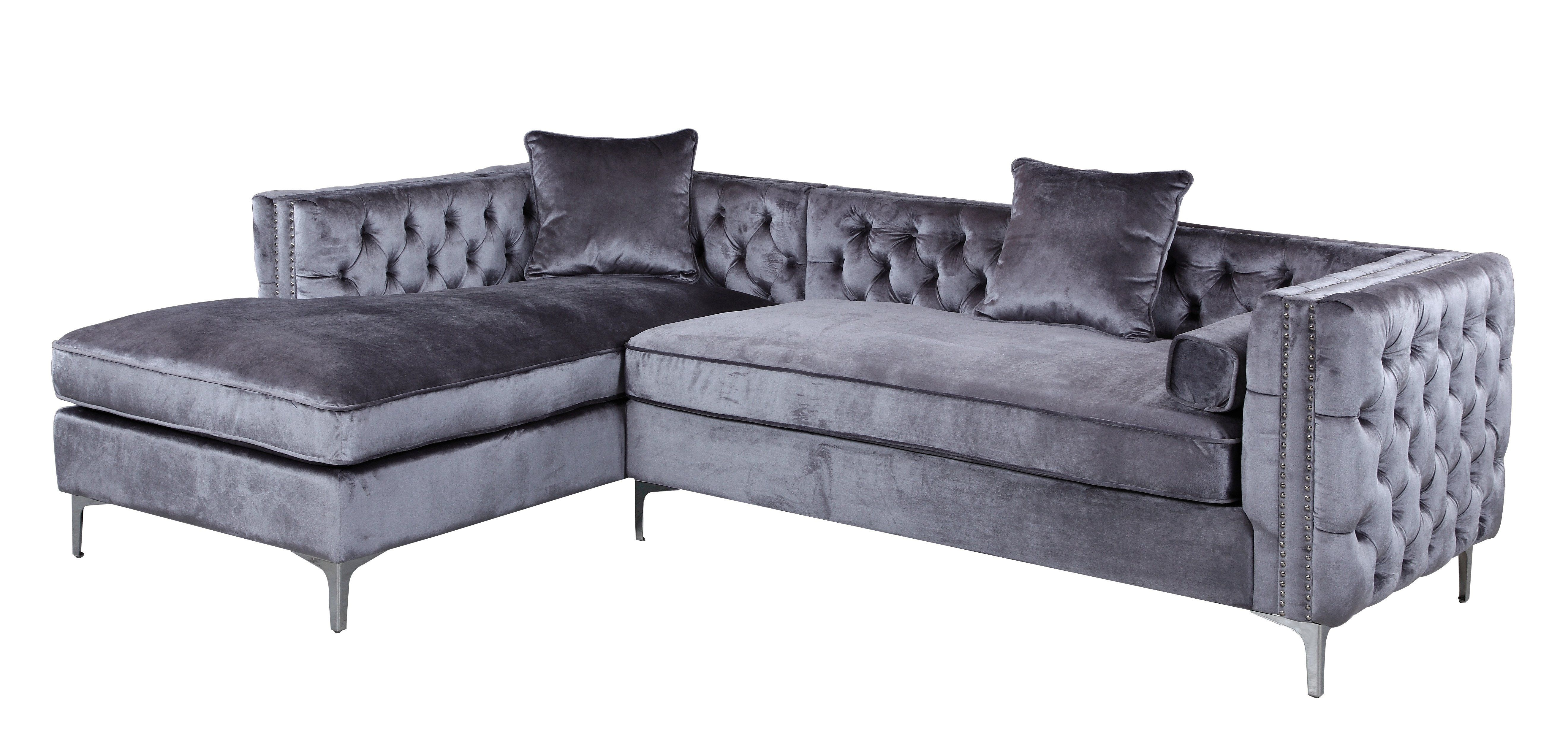 7196bb7111de Da Vinci Velvet Modern Contemporary Button Tufted with Silver Nailhead Trim  Silvertone Metal Y-leg Left Facing Sectional Sofa