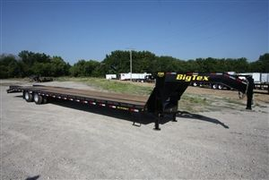 Big Tex Trailers 102 X 35 5 Heavy Duty Tandem Dual Axle Gooseneck With 5 Dovetail Fold Over Ramps And Spare Tire Mount Plus 5 Center Popup Dovetail M
