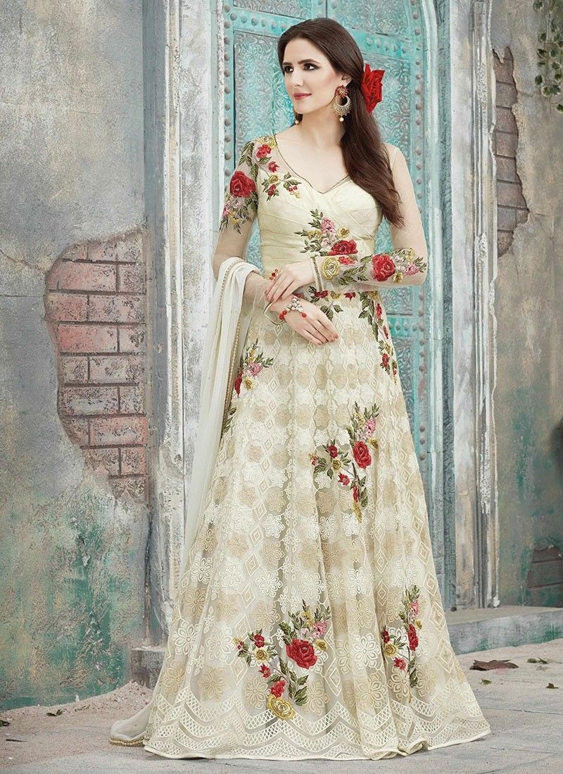 Cream net long length salwar suits with embroidered lace works