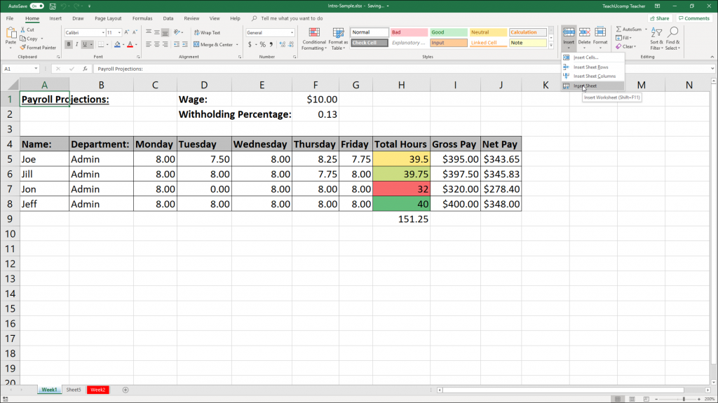 Inserting and Deleting Worksheets in Excel Instructions