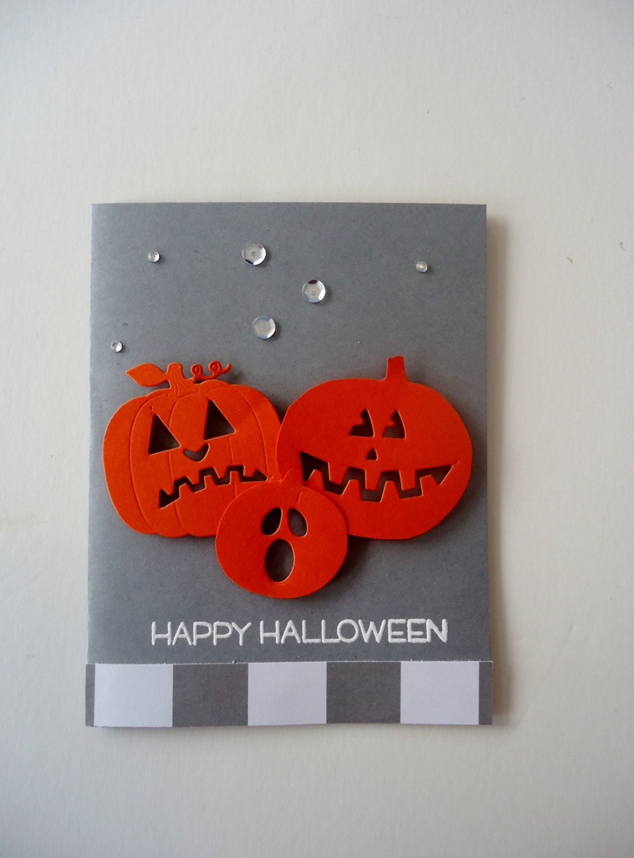 Happy Halloween Pumpkin Faces Greeting Card Handmade Perfect