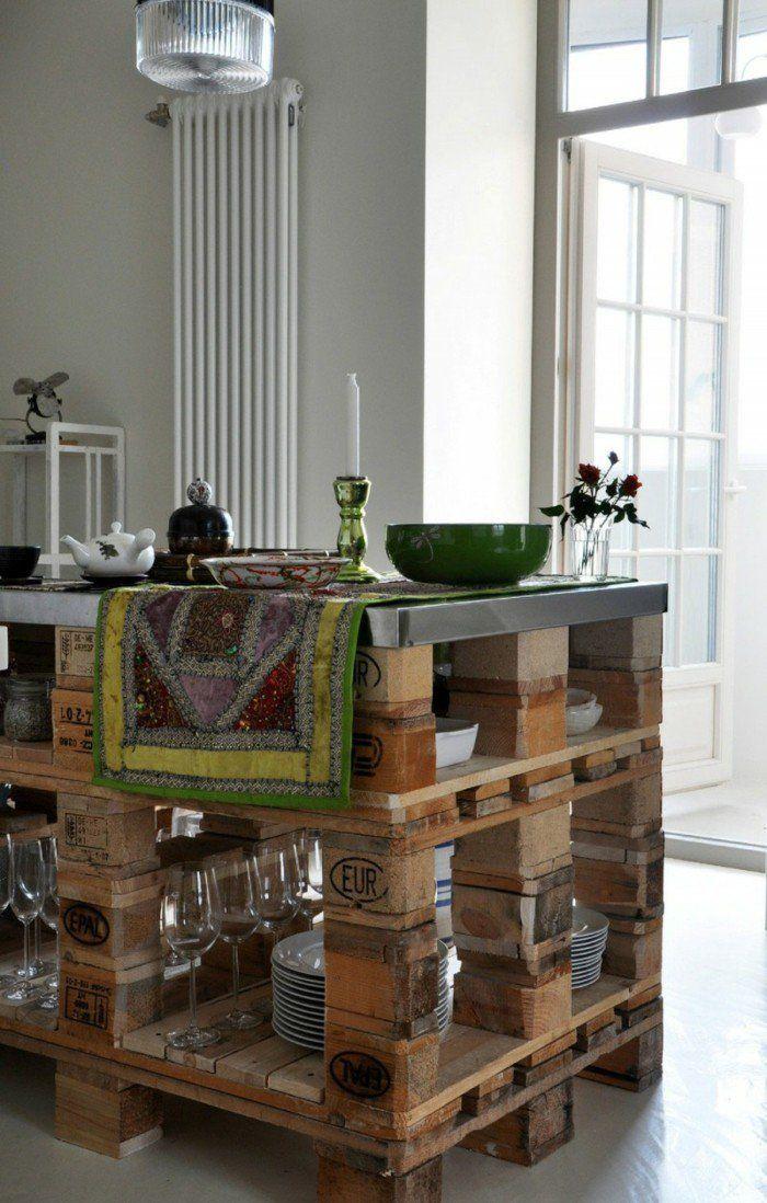 Kücheninsel selber bauen aus Paletten - 31 Modell-Anregungen - kücheninsel selbst gebaut