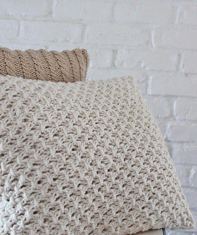 чехол для подушки спицами жемчужным узором схема пледыкрючок