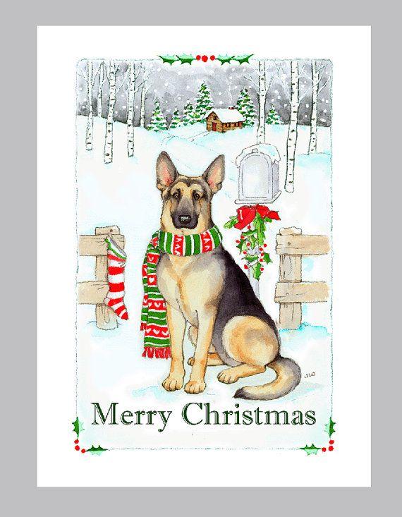 Box of 16 Cards /& 16 Envelopes German Shepherd Dog Black Christmas Cards