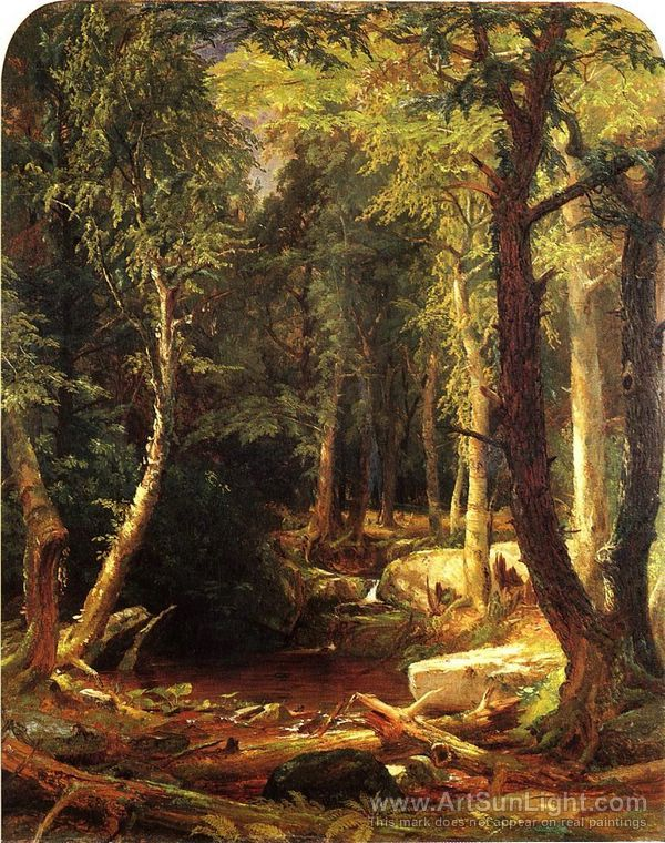 Jasper Francis Cropsey's oil painting Pool in the Woods