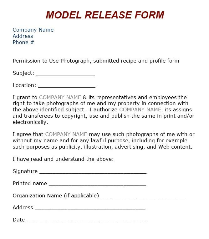 Copyright Release Form. Portrait Session Model Release Form