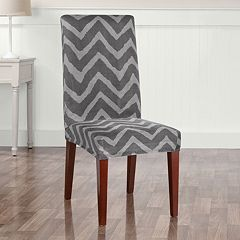 Sure Fit Stretch Plush Chevron Short Dining Room Chair Slipcover