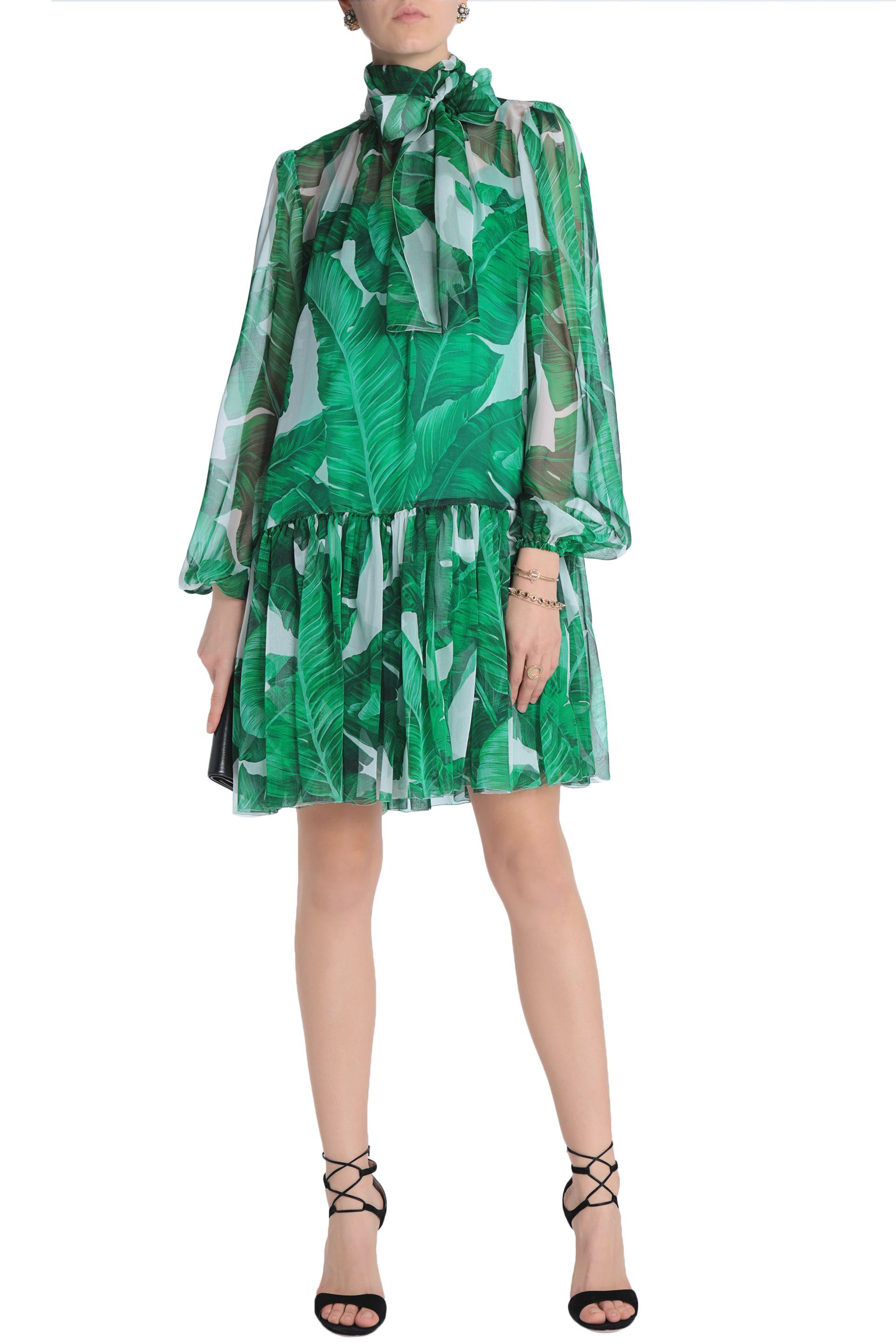 1630a6c7 Pussy-bow printed silk-chiffon dress | DOLCE & GABBANA | Sale up to 70% off  | THE OUTNET