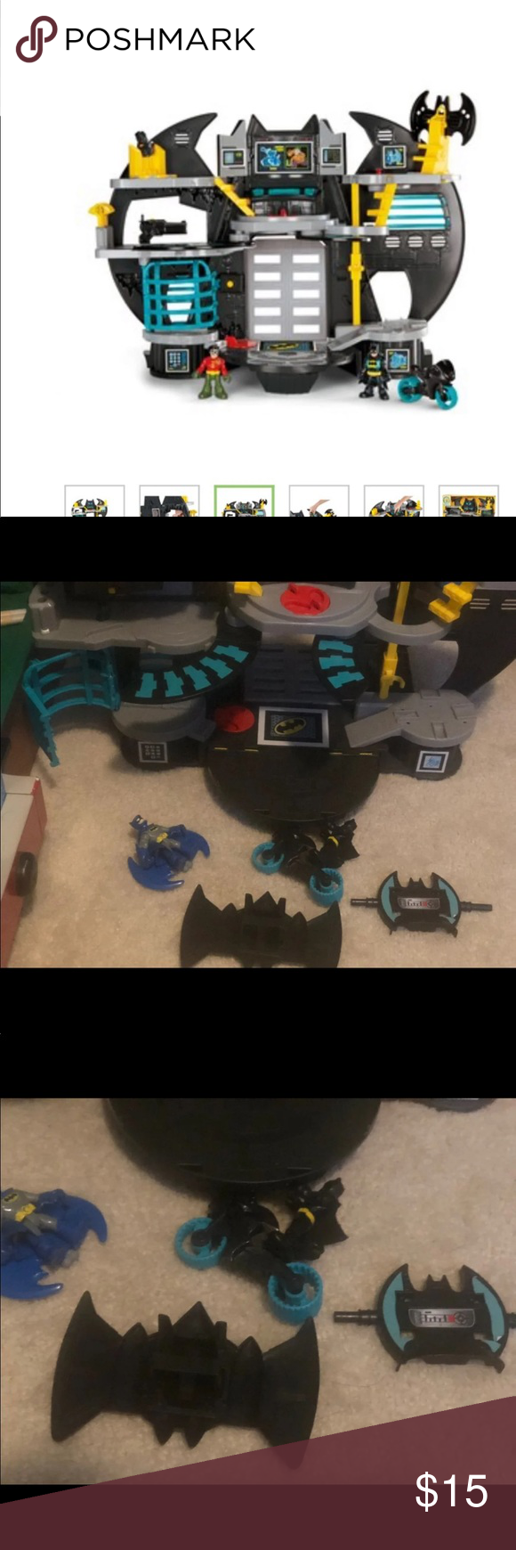 Imaginext Batman batcave Imaginext DC Superfriends Batcave by Fisher-Price. Like new missing one yellow shooter  Turn the Power Pads to open the Batcomputer & extend walkways, flip up the Batwing, and open & close the front door! Press button on launcher to fire projectiles Clip a figure into elevator to access all of the Batcave levels Press button on wall to pop open jail door 50 new  Will take reasonable offer will only have available for couple weeks imaginext Accessories #walkwaystofrontdoo #walkwaystofrontdoor