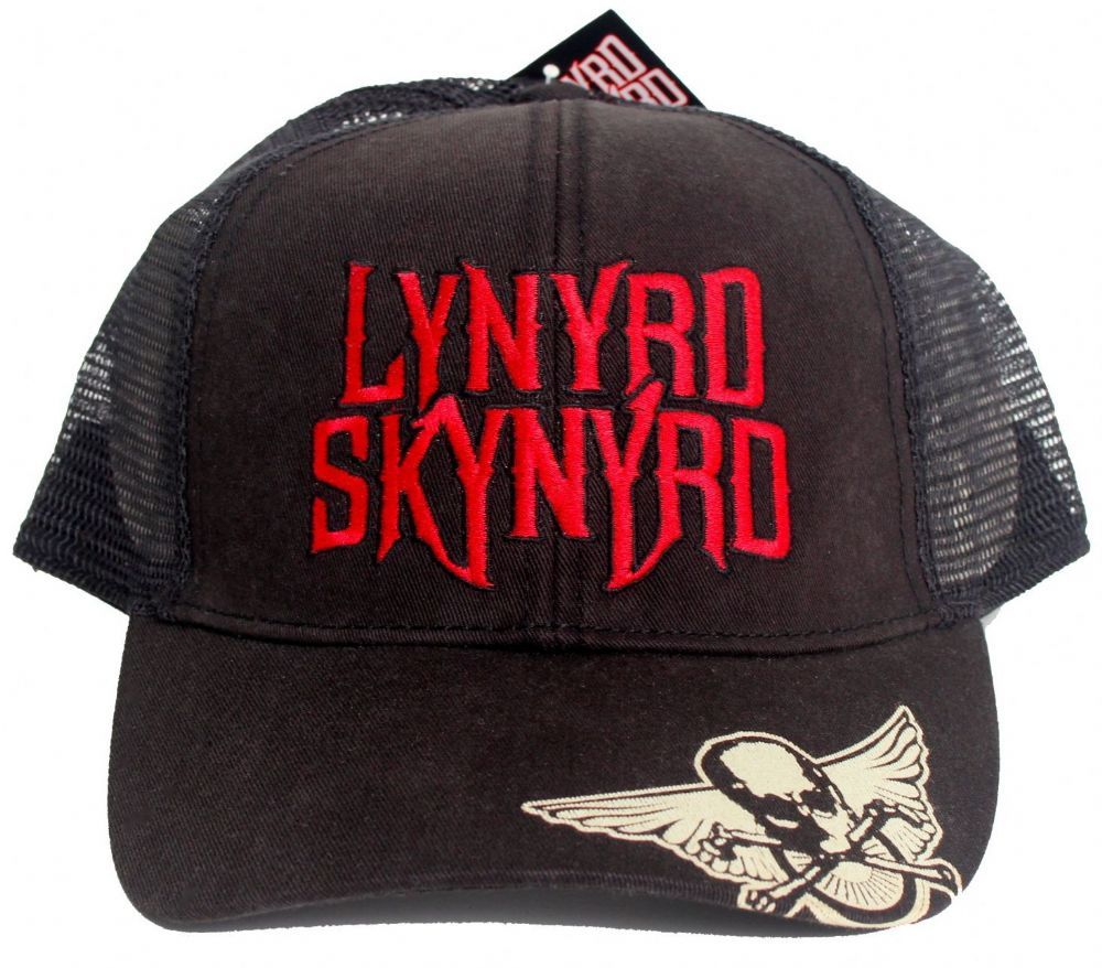 0e75a439e2a Official Lynyrd Skynyrd Trucker style Baseball Cap featuring the Motor  Cycle Club Biker Patch design printed on the peak and Logo embroidered on  the