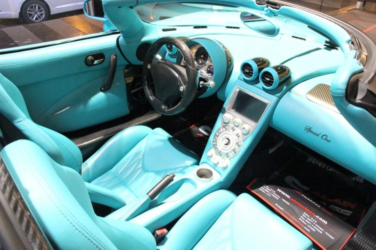 One Of A Kind Koenigsegg CCXR Turquoise And Black Carbon Fiber Interior.  Aqua Light Blue