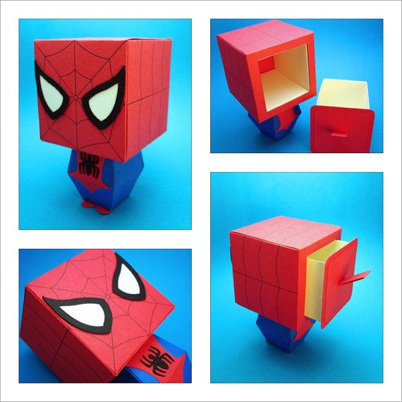Spiderman Inspired Gift Box Display By Scissorsandclay On Etsy