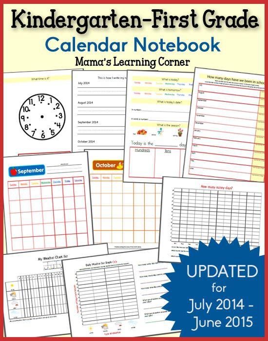 Calendar Notebooks For 2019 2020 Homeschool Kindergarten School