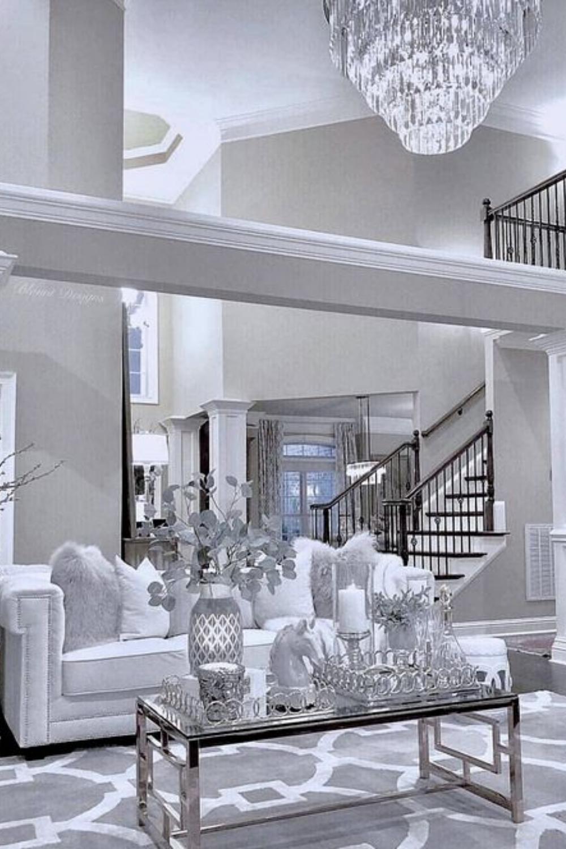 Luxury Home Decor Elegant Living Room, Silver And White Living Room Ideas