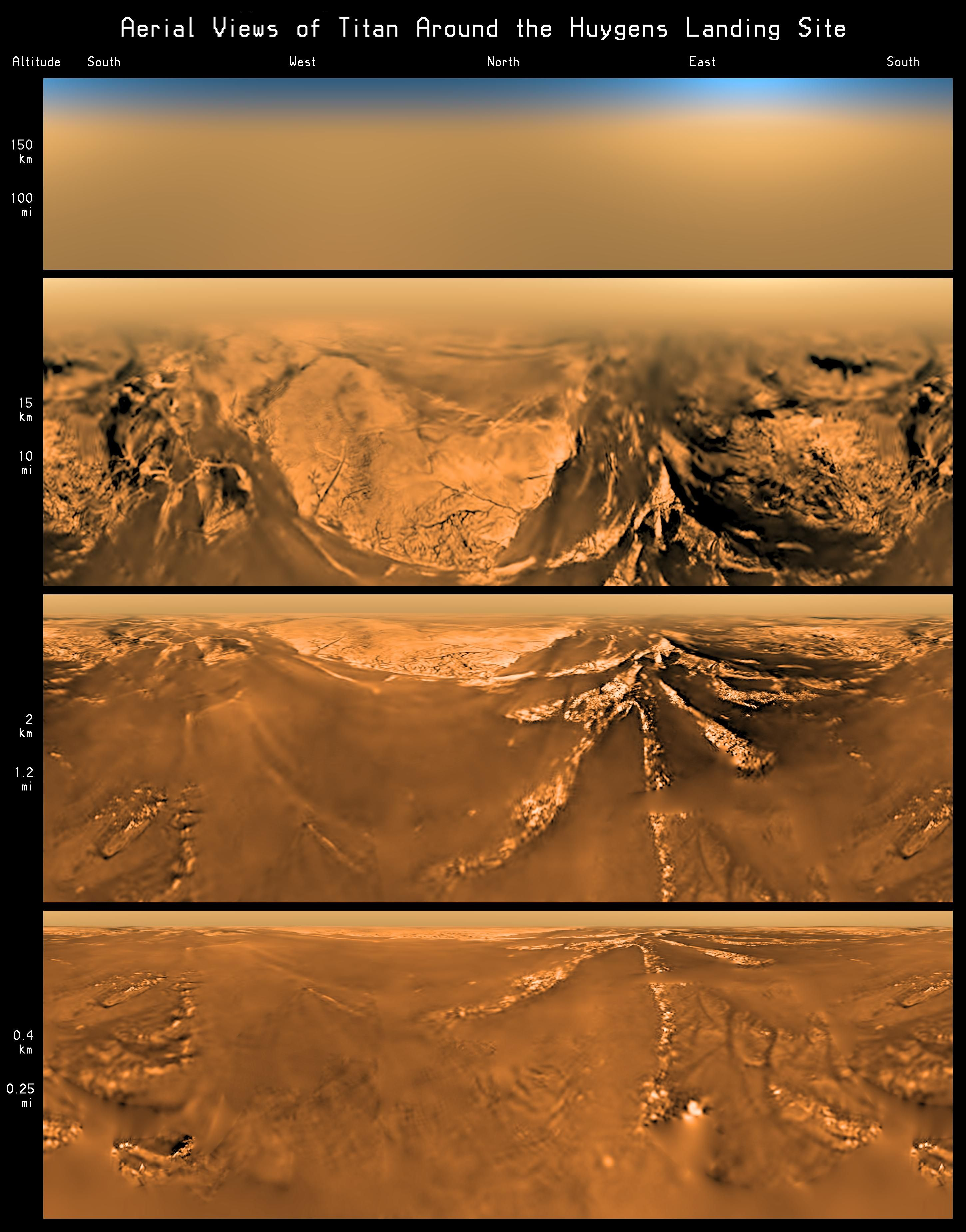 Actual Images Taken By The Huygens Space Probe During Its Descent