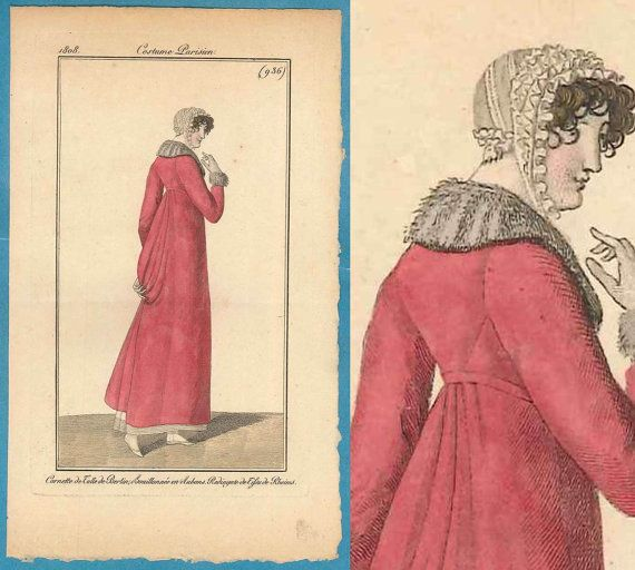 1808 charming cerise pelisse Regency Georgian by SylvestraRegency