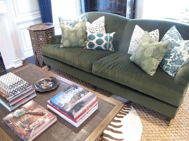 Green Couch Pillow Ideas: Amber Interior Design   green sofa  LOVE the pillow combination    ,